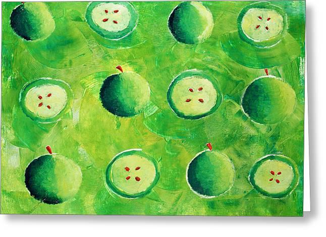 Apples In Halves Greeting Card by Julie Nicholls