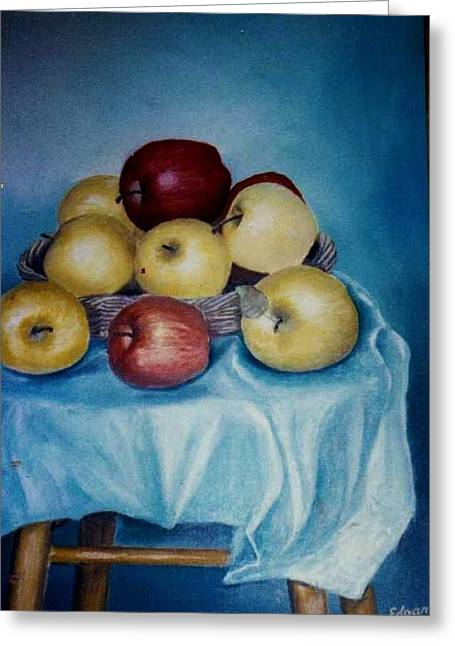 Apples  Nice And Fresh Greeting Card by Anne-Elizabeth Whiteway