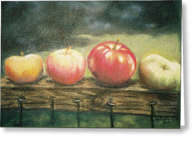 Apples On A Rail Greeting Card by Harriett Masterson