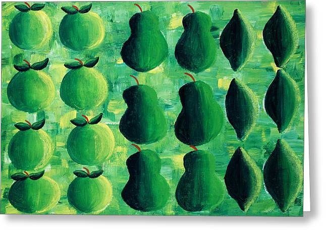 Apples Pears And Limes Greeting Card by Julie Nicholls