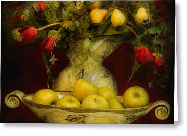 Apples Pears And Tulips Greeting Card by Jeff Burgess