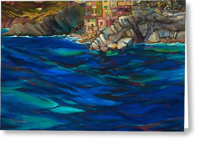 Approach To Riomaggiore Greeting Card by Jen Norton