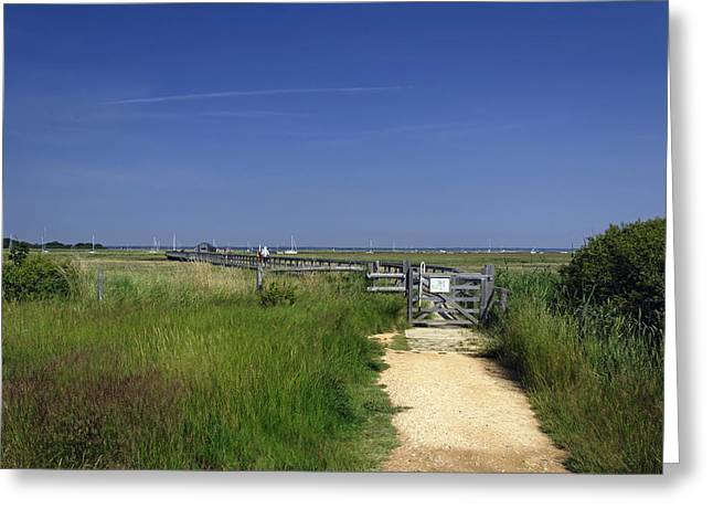 Approach To The Wooden Bridge - Newtown Greeting Card by Rod Johnson