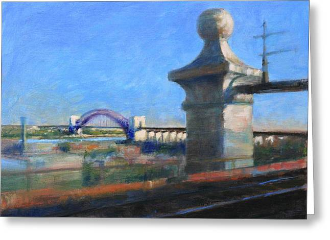Approaching Hell Gate Bridge By Rail Greeting Card