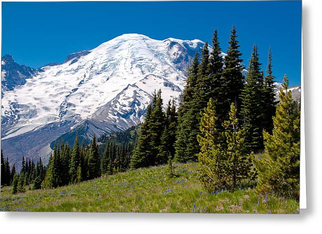 Approaching Mount Rainier Greeting Card by David Patterson