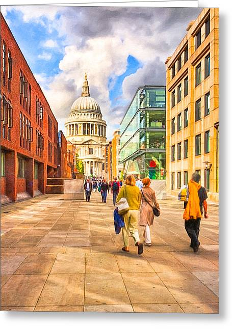 Approaching St. Paul's Cathedral Greeting Card by Mark E Tisdale