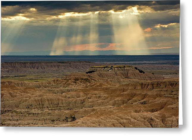 Approaching Storm And Crepuscular Rays Greeting Card