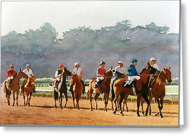 Approaching The Starting Gate Greeting Card