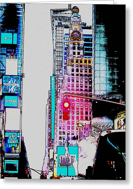 Approaching Times Square Greeting Card