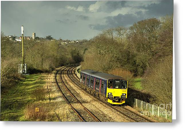 Approaching Yeoford  Greeting Card by Rob Hawkins