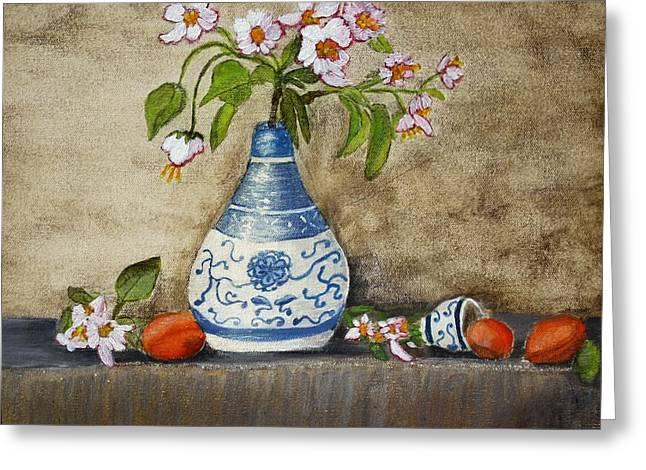 Apricot Still Life Ll Greeting Card by Kristie Zweig Christensen