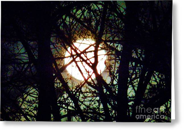 April 3 Am Moon Greeting Card by Judy Via-Wolff