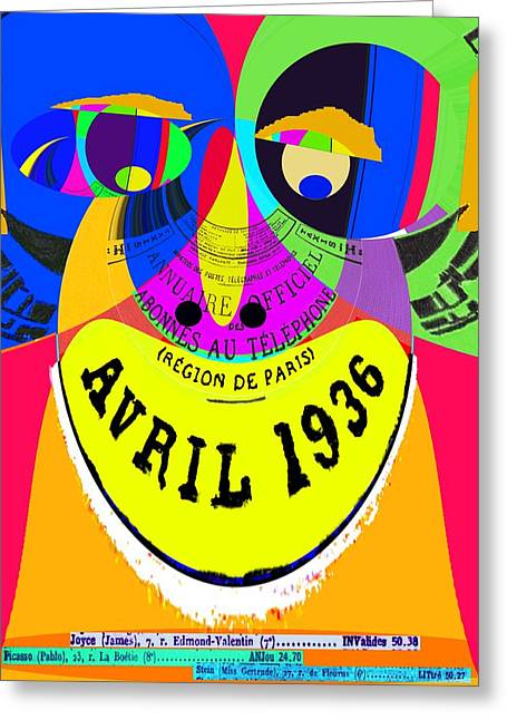April In Paris 1936 Pop Art Greeting Card by Cliff Wilson
