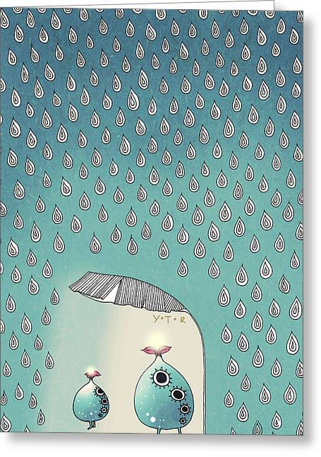 April Shower Greeting Card by Yoyo Zhao