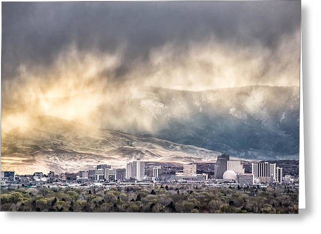 April Showers Over Reno Greeting Card by Janis Knight