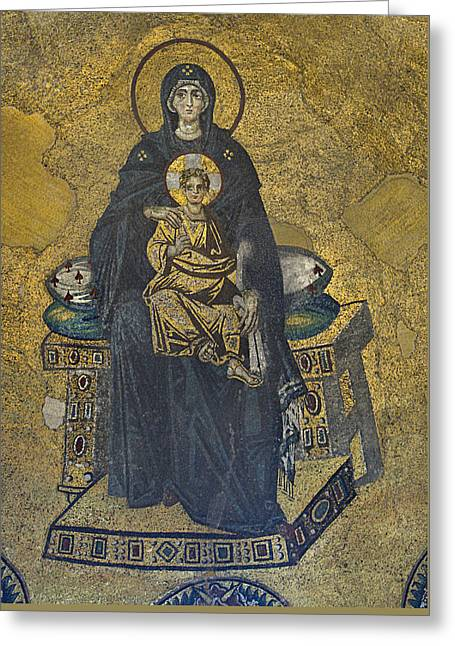 Apse Mosaic Hagia Sophia Virgin And Child Greeting Card