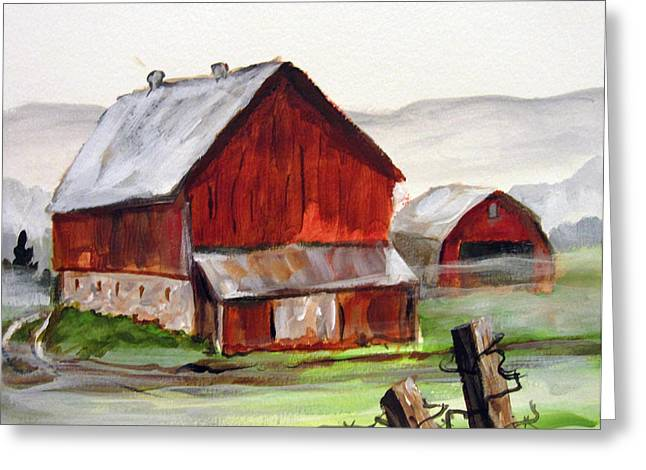 Greeting Card featuring the painting Apulia Farm Barn by Carol Hart
