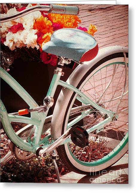 Greeting Card featuring the digital art Aqua Bicycle by Valerie Reeves