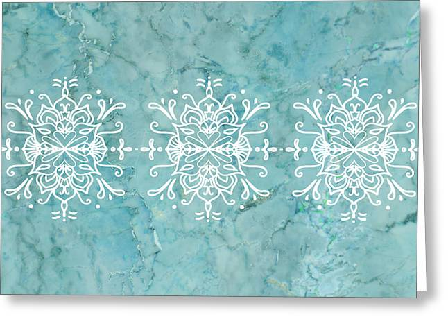 Aqua Blue Marble-royal White Greeting Card