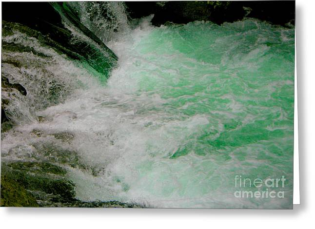 Aqua Falls Greeting Card by Rich Collins
