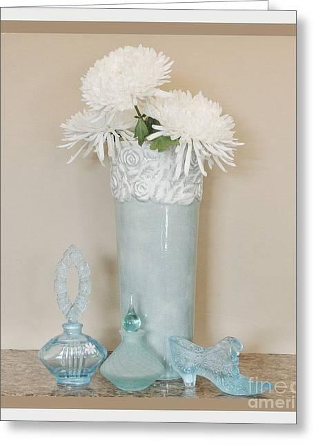Aqua Floral Still Life Greeting Card by Marsha Heiken