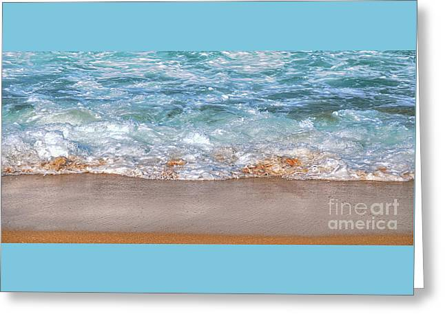 Aqua Glow - Wave Panorama Greeting Card by Kaye Menner