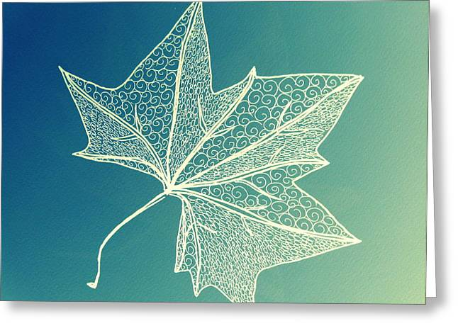 Aqua Leaf Study 3 Greeting Card by Cathy Jacobs