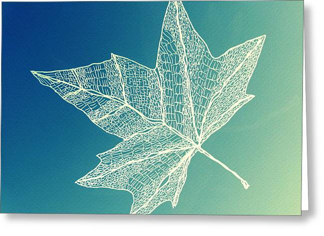 Aqua Leaf Study 4 Greeting Card by Cathy Jacobs