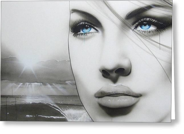 Portrait - ' Aqua Marine ' Greeting Card by Christian Chapman Art
