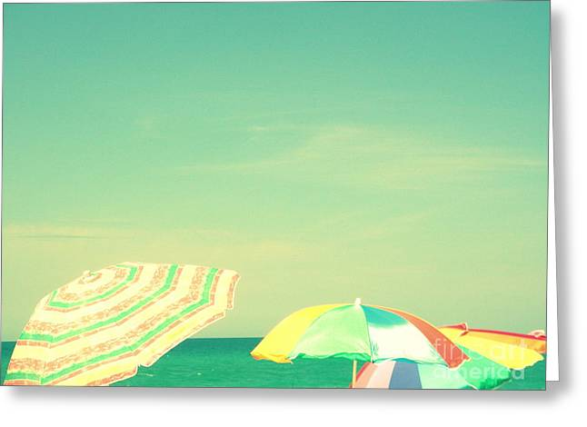 Greeting Card featuring the digital art Aqua Sky With Umbrellas by Valerie Reeves