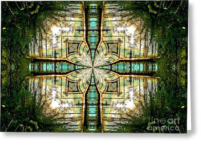 Kaleidoscope Aqua Sunrise Greeting Card