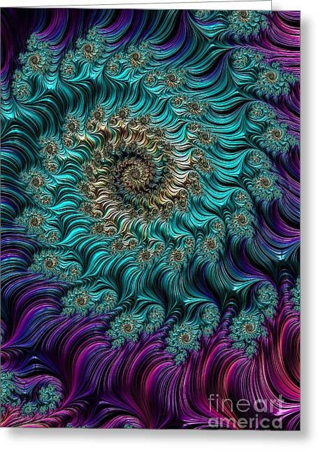Aqua Swirl Greeting Card by Steve Purnell