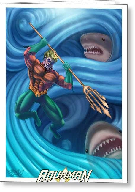 Aquaman Greeting Card by Michael Adams