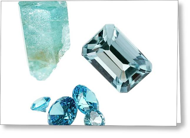 Aquamarine Gemstones And Crystal Greeting Card