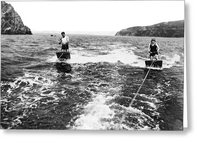 Aquaplane Ride On Sf Bay Greeting Card by Underwood Archives