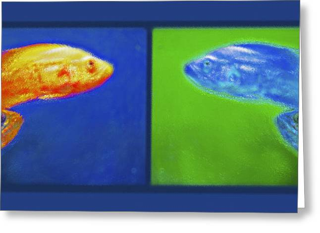 Aquarium Art Diptych Greeting Card by Steve Ohlsen