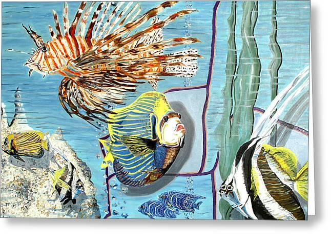Greeting Card featuring the painting Aquarium by Daniel Janda