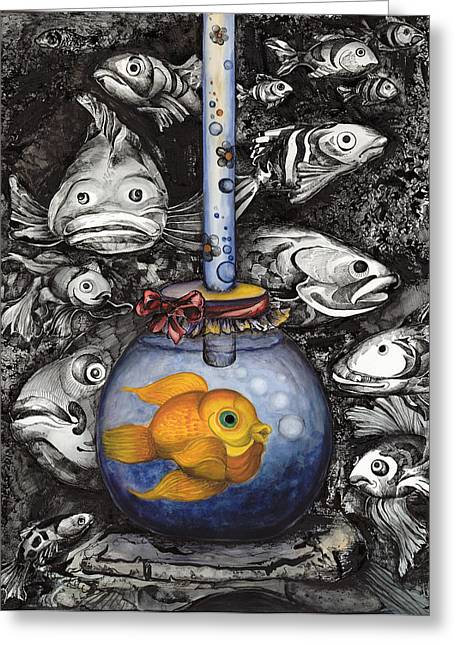 Aquarium In The Ocean Greeting Card by Daniela Yordanova