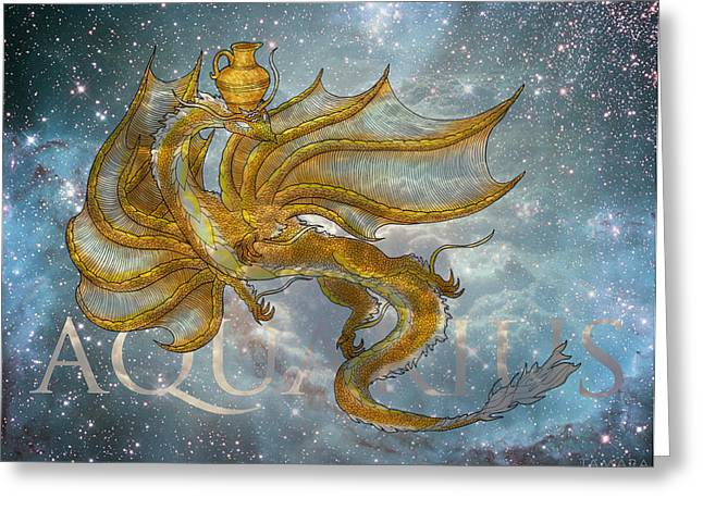 Aquarius Dragon Greeting Card by Tamara Willis