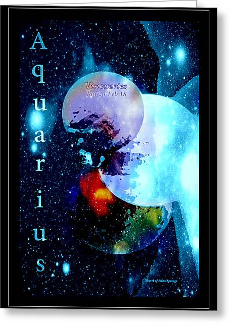 Aquarius Sign Of The Zodiac Greeting Card by Sherri's - Of Palm Springs