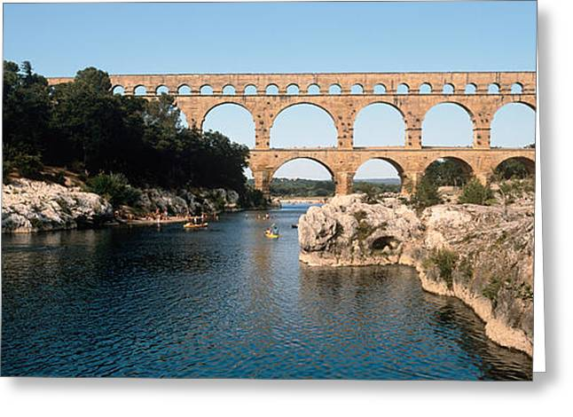 Aqueduct Across A River, Pont Du Gard Greeting Card by Panoramic Images