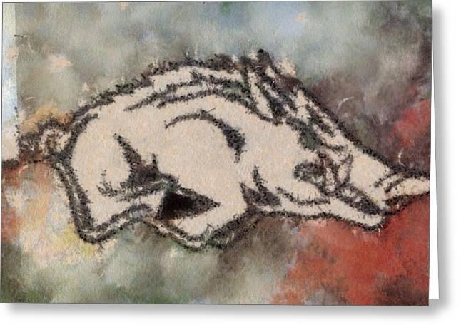 Ar Razorbacks Go Hogs Greeting Card by Dawn Bearden