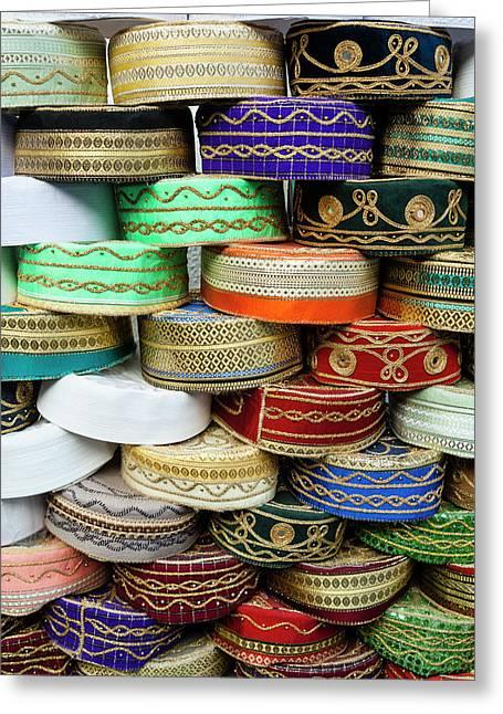 Arab Caps For Sale, Tunisia, North Greeting Card by Nico Tondini