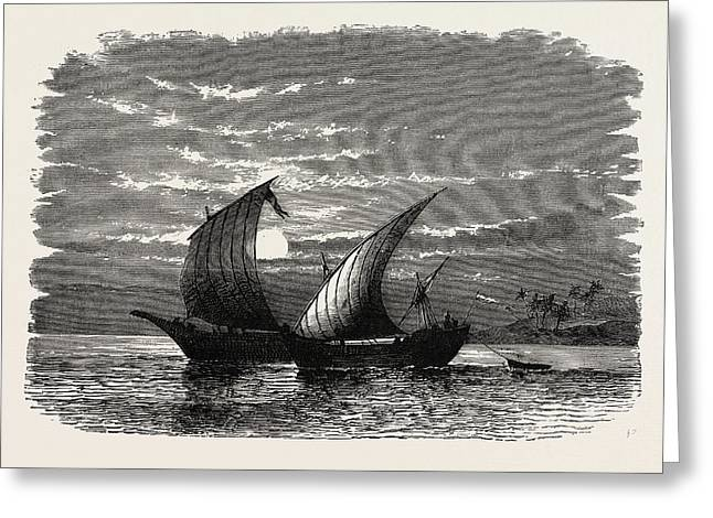Arab Dhows On The Red Sea. Dhow Is The Generic Name Greeting Card by Litz Collection