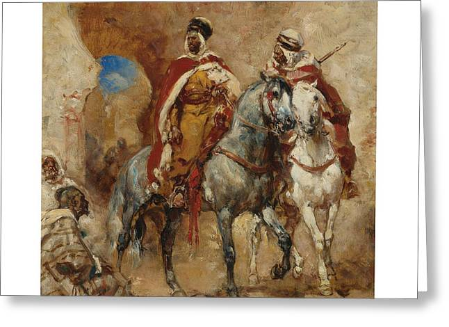 Arab Horsemen Before A City Gate Greeting Card by Celestial Images