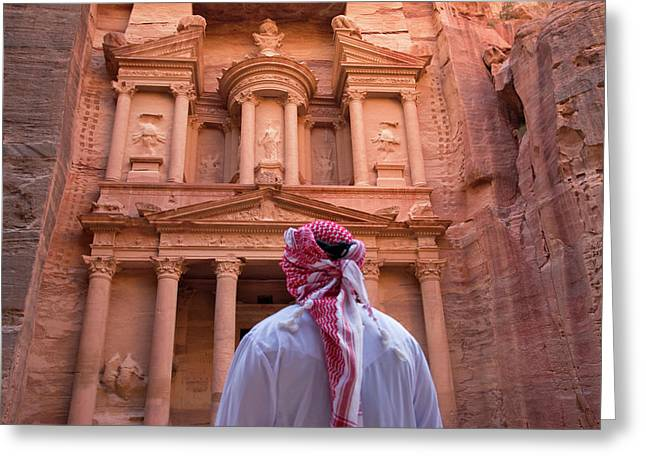 Arab Man Watching Facade Of Treasury Greeting Card by Keren Su