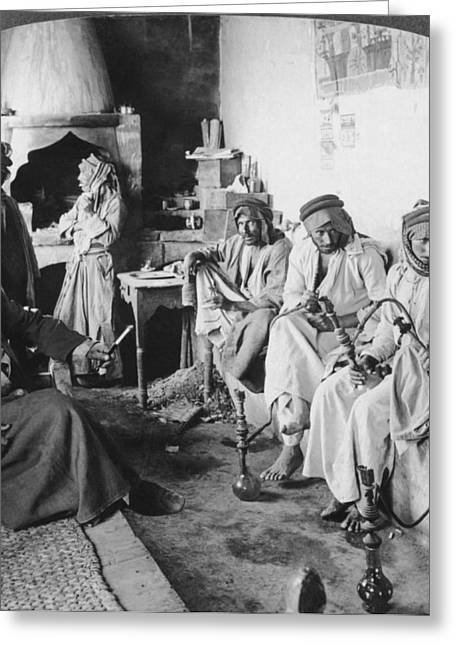 Arab Men At Leisure Greeting Card by Underwood Archives
