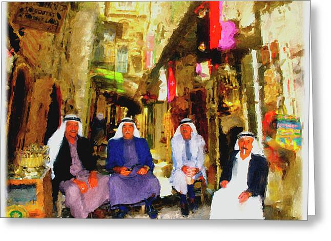 Greeting Card featuring the painting Arab Merchants Of Jerusleum by Ted Azriel