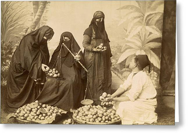Arab Women Buying Fruit Greeting Card by Underwood Archives