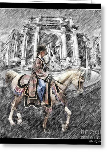 Arabian Horse Black And White Greeting Card by Blake Richards